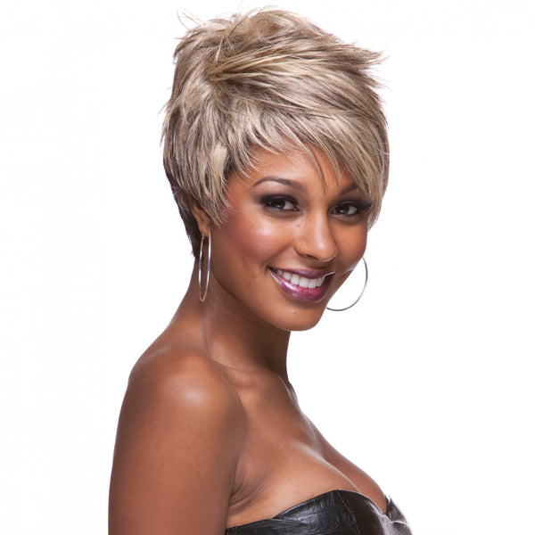 Blonde Mix Black Synthetic Wigs for Black Women Natural Short Curly Wigs