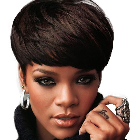 Fashionable Design Synthetic Dark Brown Wigs with Bangs for Black Women