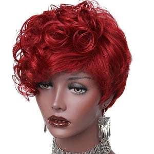 Short Synthetic Wig with Side Part Bangs Fashion Black/Red Curly Wig