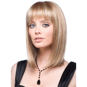 Light Blonde Wig with Bangs Straight Shoulder Length Synthetic Hair