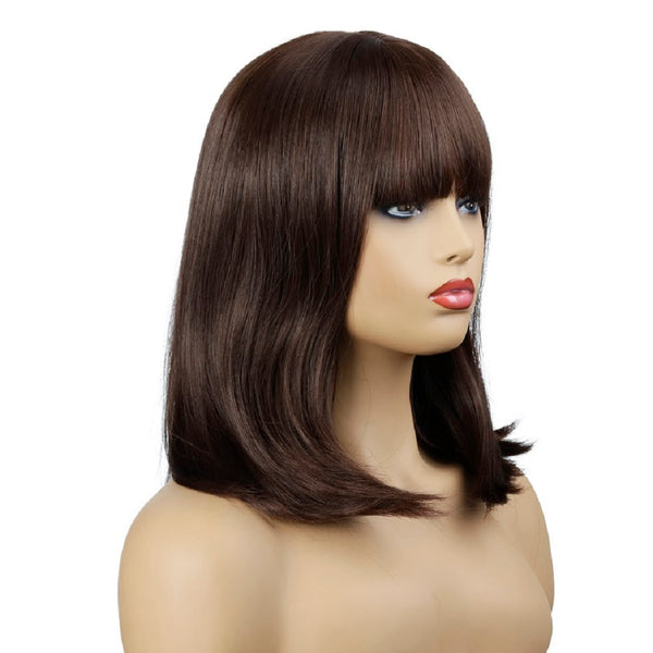 Natural Wave Synthetic Wig with Bangs Brown Shoulder Length Wig