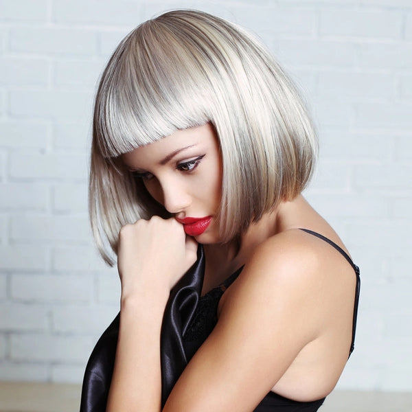 Synthetic Wig Straight Bob Wig with Bangs Sliver White Short Wig