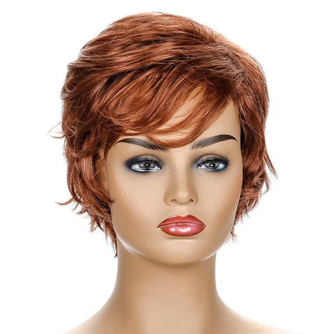 Loose Curl Style Wig with Bangs Brown Short Synthetic Hair
