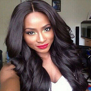 Water Wave Middle Part Wig Long Black Synthetic Hair 25 inch