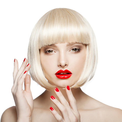 Short Bob Wigs for Women Light Blonde Wig with Bangs Synthetic Wig