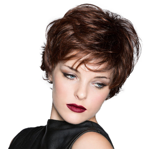 Short Curly Synthetic Wig Dark Brown Pixie Cut Wig with Bangs
