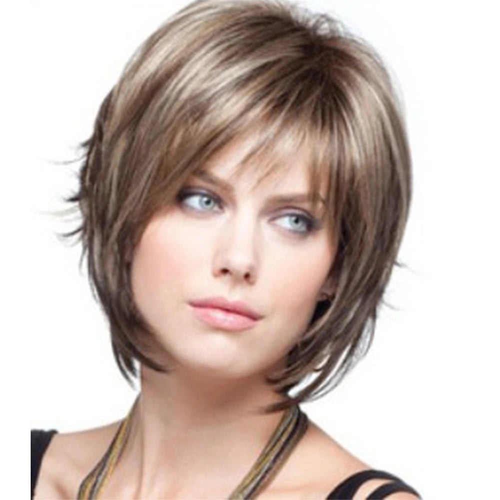 Women's Side Part Synthetic Wig Short Wavy Wig with Bangs 12 inch