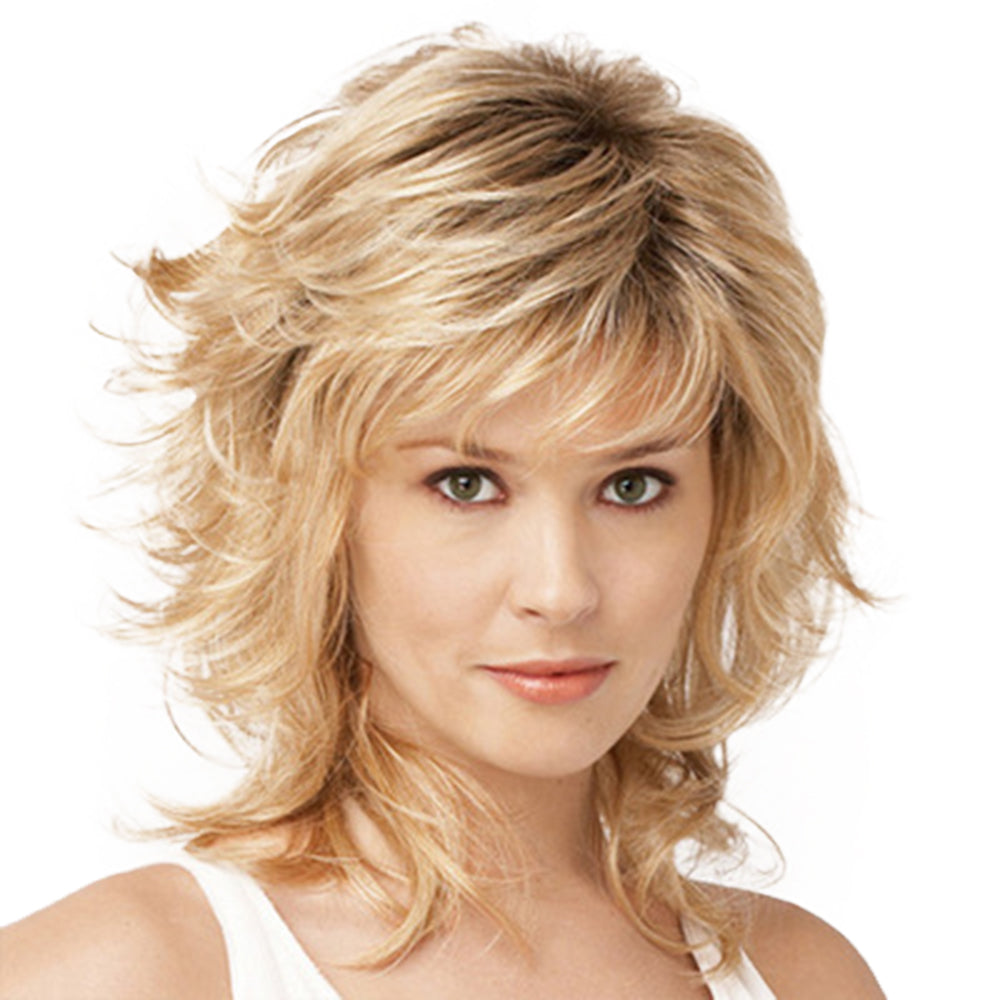 Natural Curly Style Wig with Bangs Light Blonde Medium Length Synthetic Hair