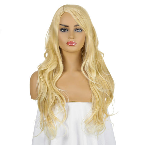 Wavy Style Wig with Bangs Long Light Blonde Synthetic Hair 26 inch