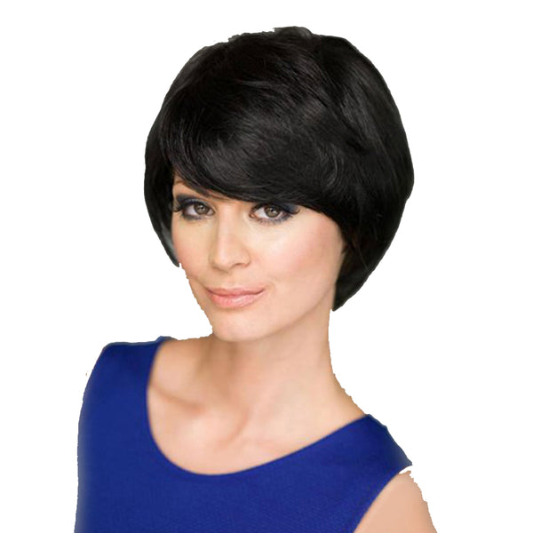 Short Black Curly Wig Women's Side Part Synthetic Hair with Bangs