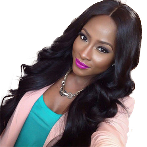 Middle Part Deep Wave Wig Natural Black Synthetic Hair 26 inch