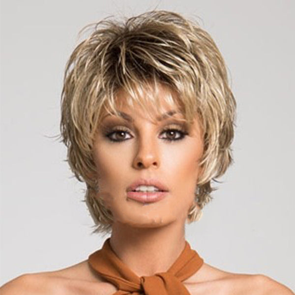 Short Synthetic Wig Curly Style Wig with Bangs Natural Hairline