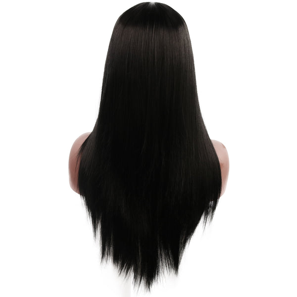 Long Straight Middle Part Wig Black Synthetic Hair 25 inch