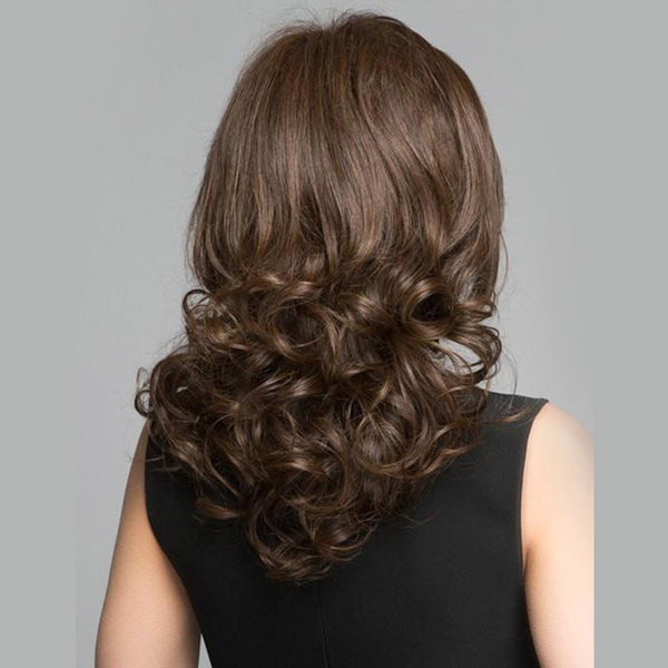 Brown Curly Wig Medium Length Synthetic Hair High Quality