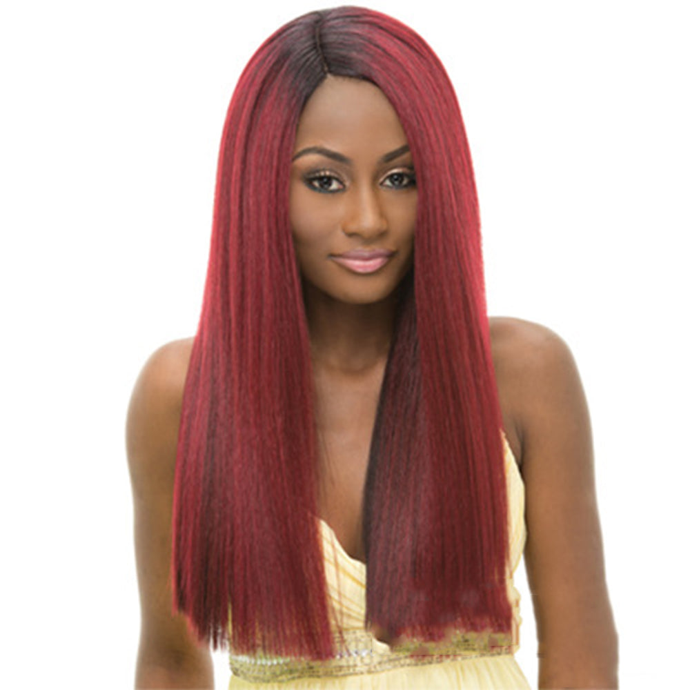 Women's Highlighted Straight Side Part Wig Long Synthetic Hair