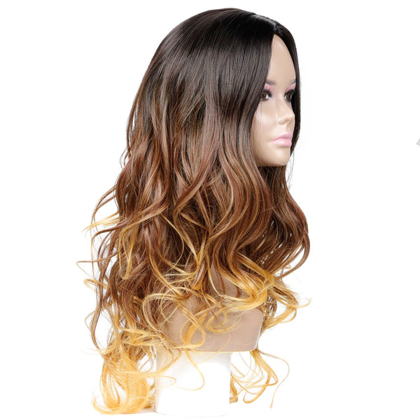Long Dark Brown to Yellowish Brown Wig Deep Wave Synthetic Hair
