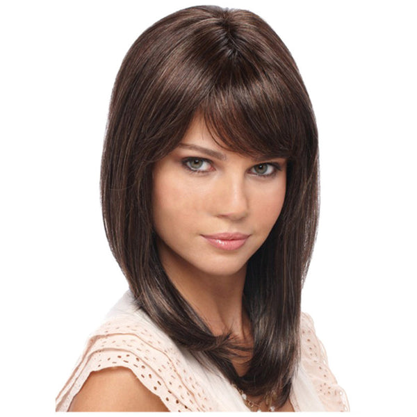 Synthetic Wig with Bangs Medium Length Dark Brown Wig Smooth
