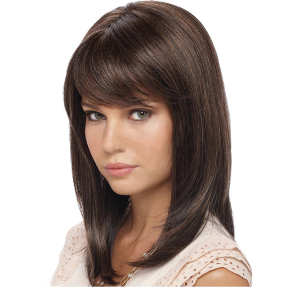 Synthetic Wig With Bangs Medium Length Dark Brown Wig Smooth Wigstoreonline