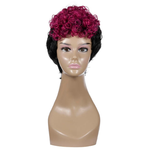 Mixed Color Short Curly Wig Purple Synthetic hair Women's Black Wig