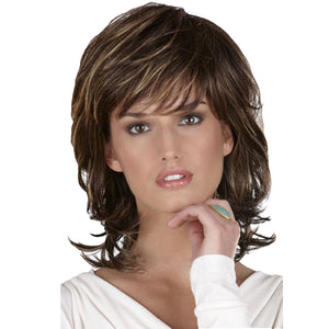 Synthetic Wig with Highlights Shoulder Length Curly Haircuts with Bangs