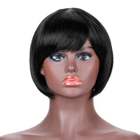 Short Straight Bob Wig with Bangs Black Synthetic Hair Cute