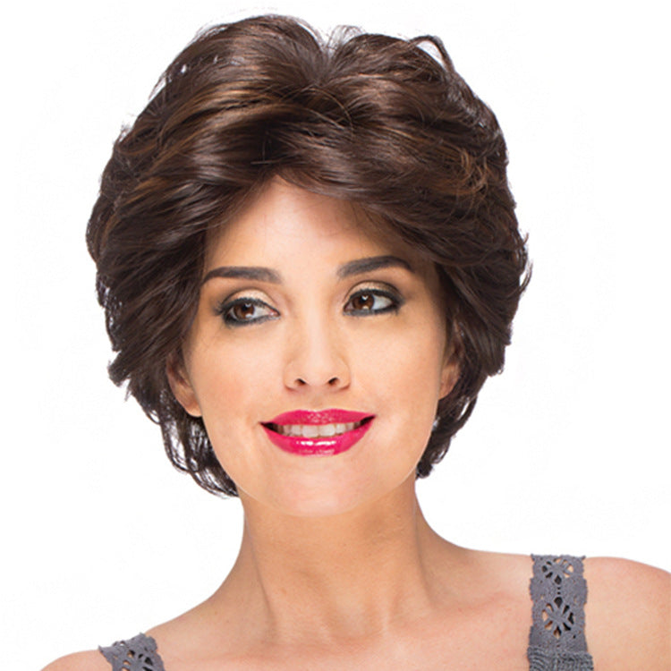 Natural Short Middle Part Curly Wig Dark Brown Synthetic Wig 10 inch