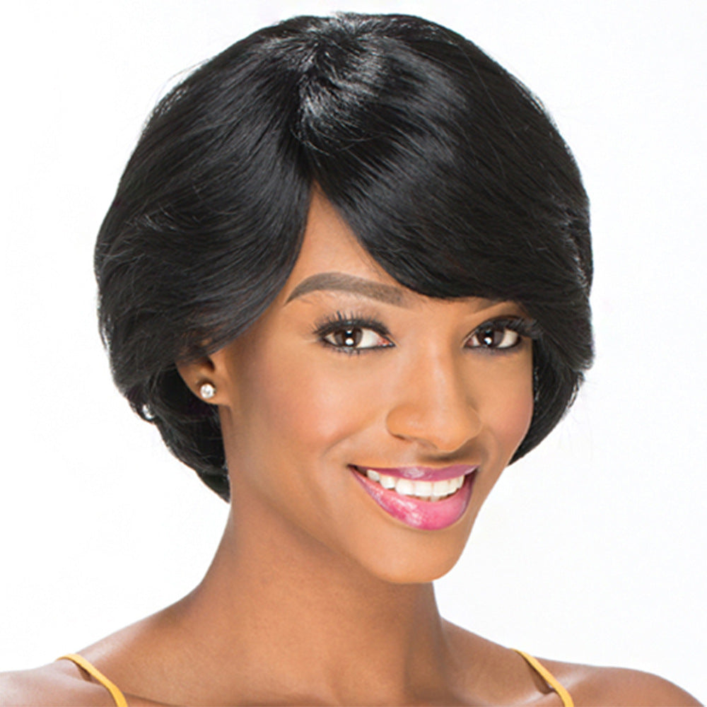 Short Curly Wig with Bangs Black Synthetic Wig for Trendy Women