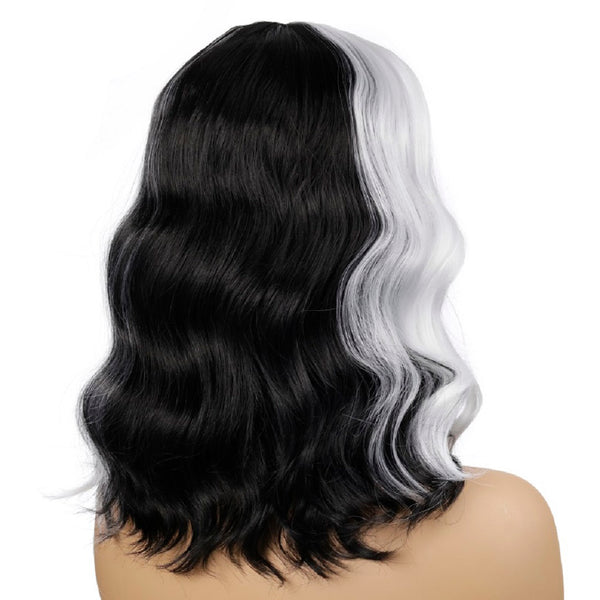 Women's Medium Length Wavy Wig Black Mix White Synthetic Hair 22 inch