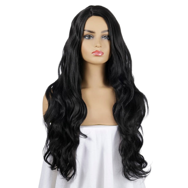 Long Wavy Right Side Parting Wig Black Synthetic Wig