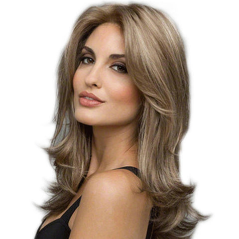 Wavy Middle Part Wig Dark Brown / Light Blonde Synthetic Hair 22 inch