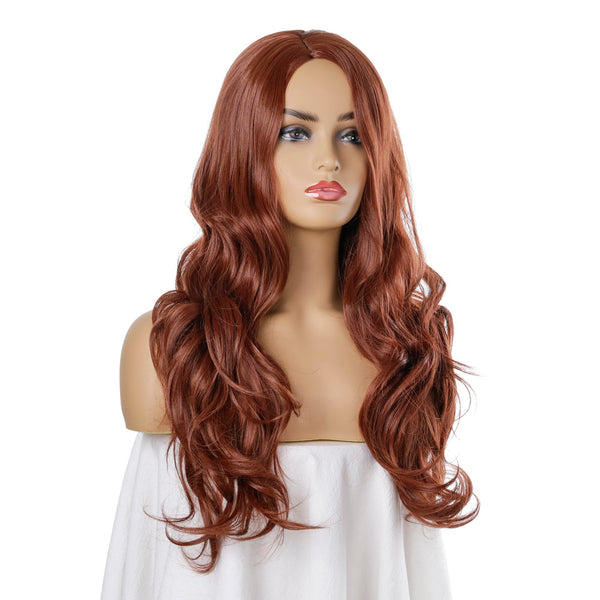 Long Wavy Middle Part Wig Women's Brown Synthetic Hair 26 inch