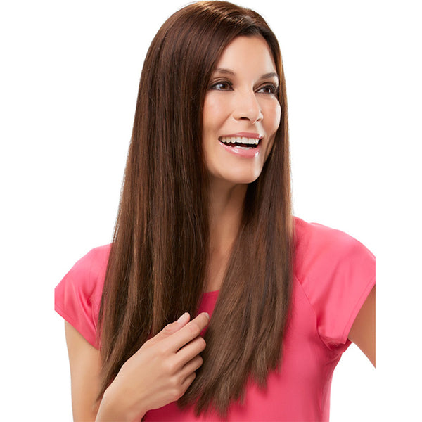 Silky Straight Wig Brown Synthetic Hair Natural Hairline 26 inch
