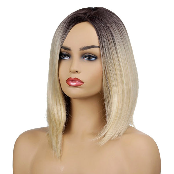 Straight Style Synthetic Hair Black to Light Golden Medium Length Wig