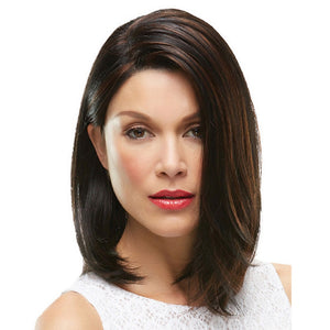 Natural Straight Side Part Wig Medium Length Black Mix Brown Synthetic Hair