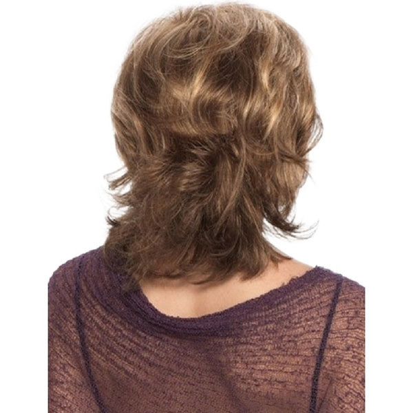 Curly Style Wig With Bangs Medium Length Brown Mix Light Golden Synthetic Wig