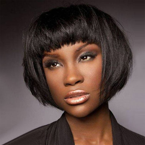 Short Straight Bob Wig with Bangs Natural Black Synthetic Wig