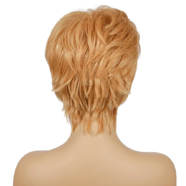 Synthetic Wig Natural Curly Style Hair Side Part Bangs Blonde Short Wig