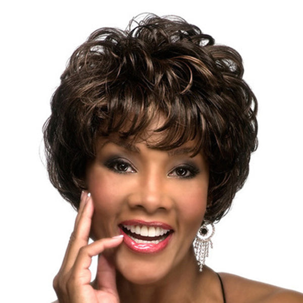 Short Loose Wave Wig Black Mix Brown Synthetic hair Hot Sale