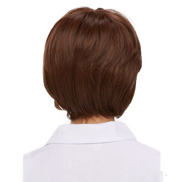Dark Brown Short Curly Wig with Bangs Synthetic Hair
