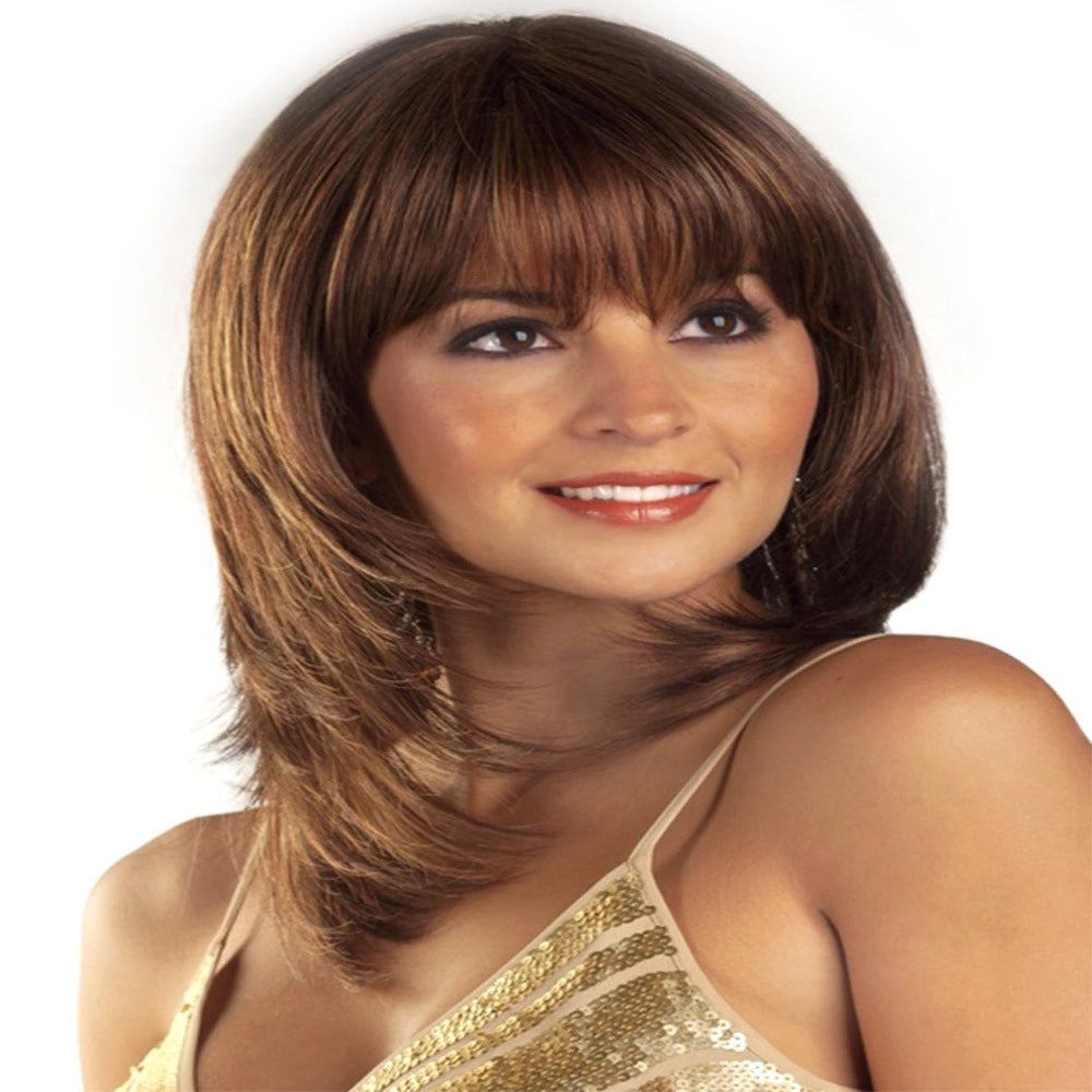Dark Brown Medium Length Layered Cut Wavy Wig with Bangs