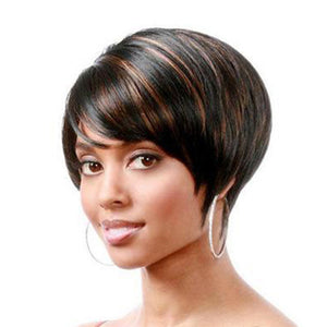 Short Straight Wig Highlighted Wig Black Mix Brown Hot Sale
