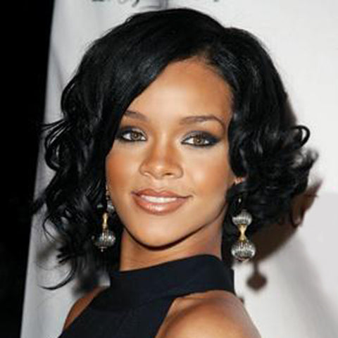 Short Big Curly Wig With Bangs Black Synthetic Hair Celebrity Wigs