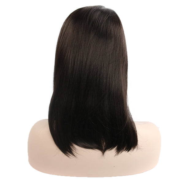 Shoulder Length Straight Wig Dark Brown Synthetic Hair 16 Inch