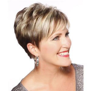 Short Straight Pixie Cut Wig with Bangs Brown Mix Light Blonde Synthetic Hair