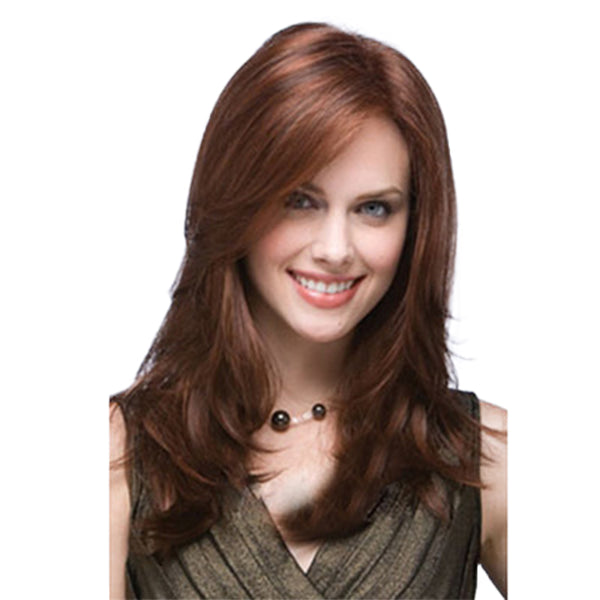 Natural Looking Layered Cut Wavy Wig Long Brown Synthetic Hair