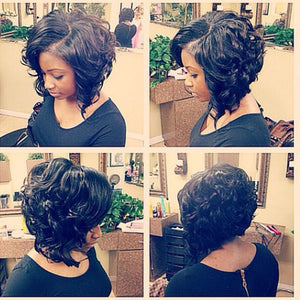 Short Big Curly Black Synthetic Wig for Black Women Hot Sale