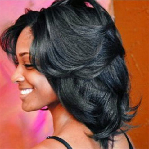 Natural Looking Medium Length Curly Black Wig With Bangs For Fashion Women