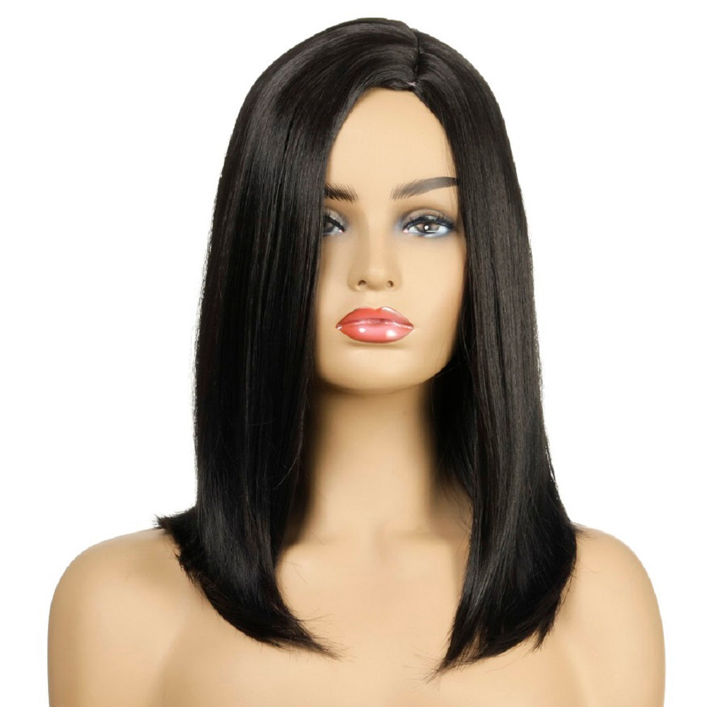 Shoulder Length Straight Left Side Parting Black Hair Synthetic Wig