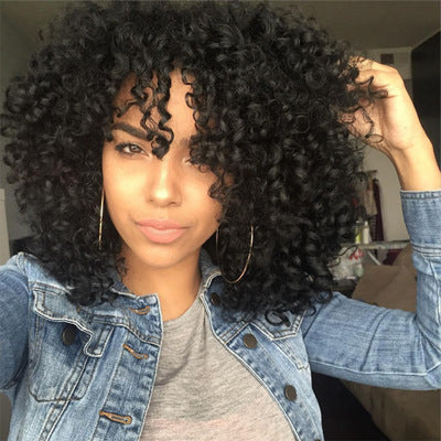 Natural Looking Medium Length Kinky Curly Wig with Bangs
