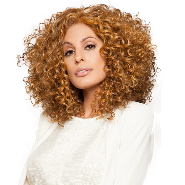 Hot Sale Medium Length Kinky Curly Synthetic Wig for Black Women